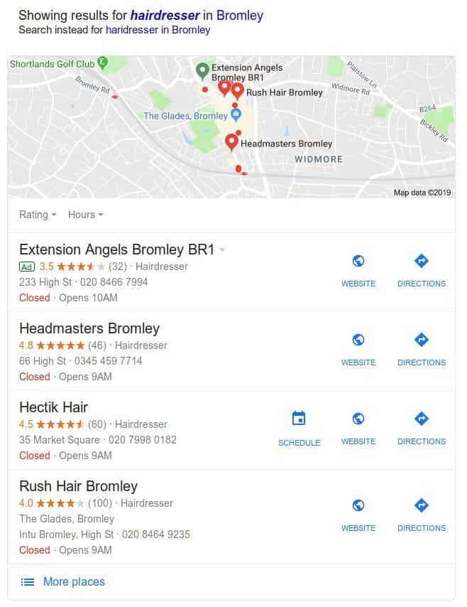 Google My Business 3-pack example