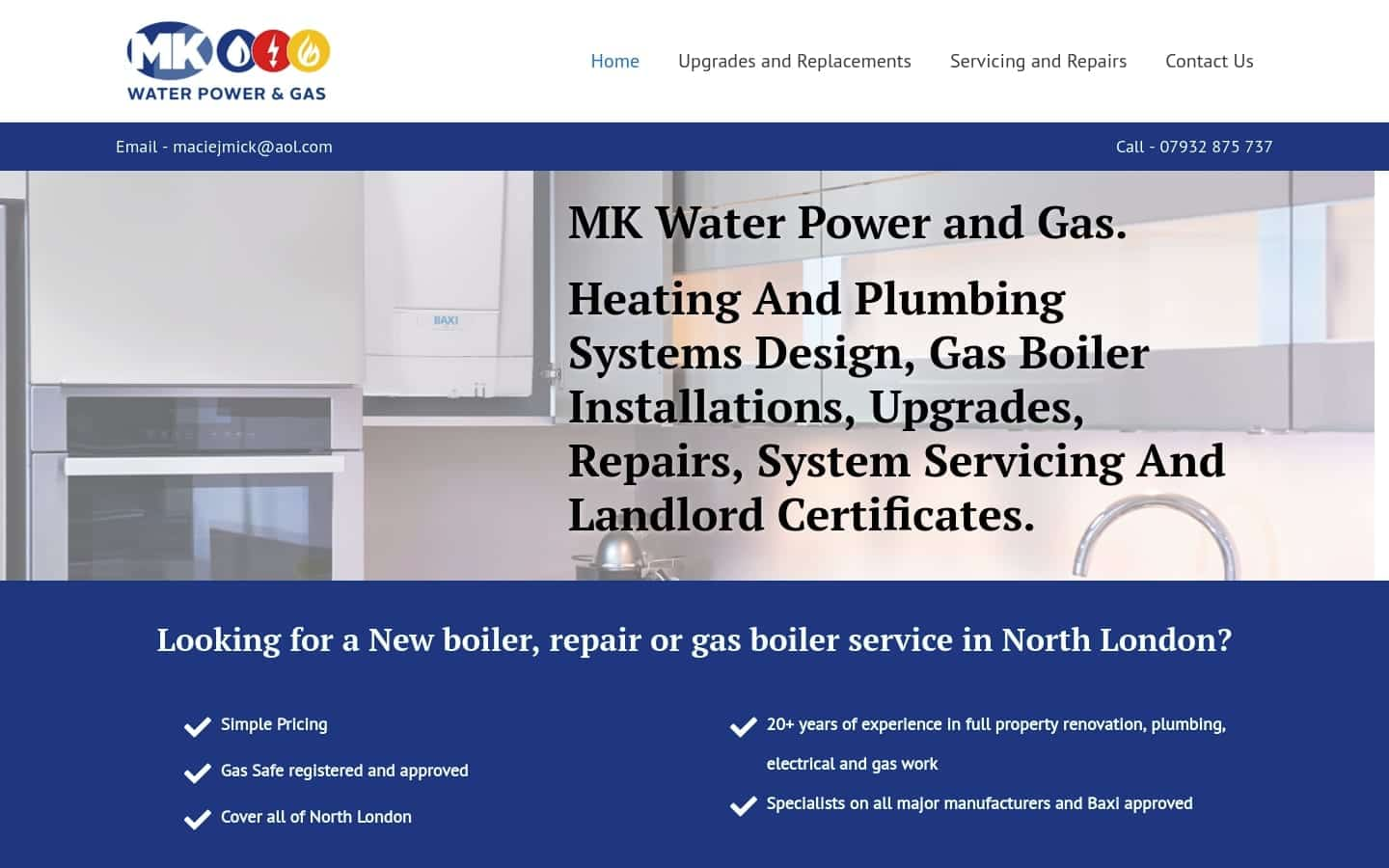 MK Water Powr and Gas Website - Desktop
