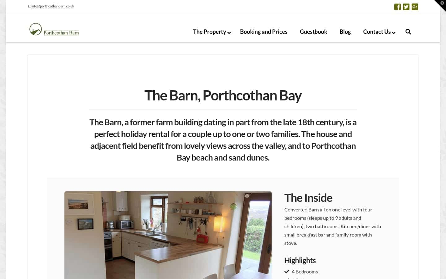 Porthcothan Barn Desktop Website